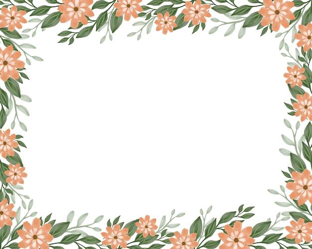 Fond floral simple avec des fleurs oranges et une bordure de feuille verte