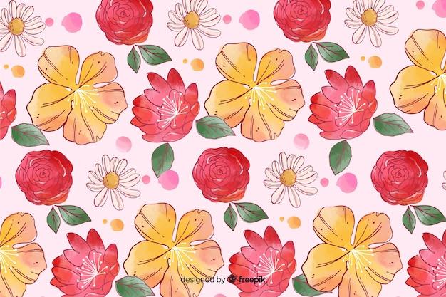 Fond floral de style aquarelle coloré