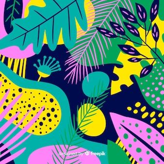 Fond floral tropical dessiné à la main