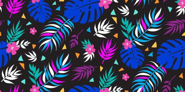 Fond floral tropical sans couture avec des feuilles de palmier pour le tissu de robe d'été