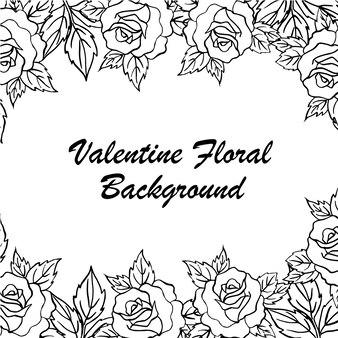 Fond floral de valentine dessiné à la main