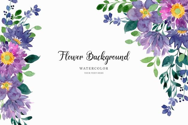 Fond floral vert violet avec aquarelle