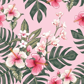 Fond floral vintage dessiné à la main