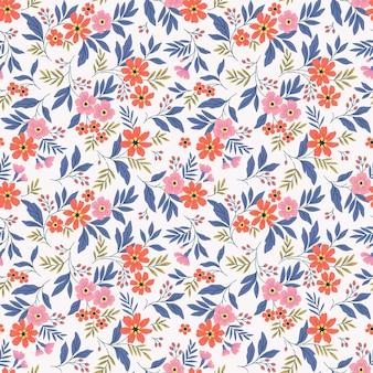Fond floral vintage modèle vectorielle continue avec de petites fleurs sur fond blanc