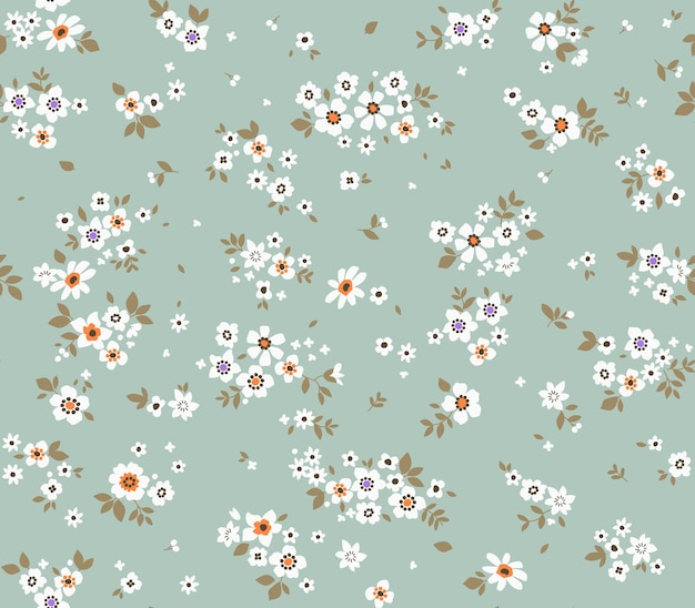 Fond floral vintage modèle vectorielle continue avec de petites fleurs sur fond bleu pâle