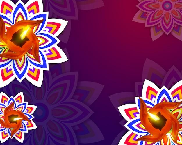 Fond floral violet brillant pour la célébration de diwali.
