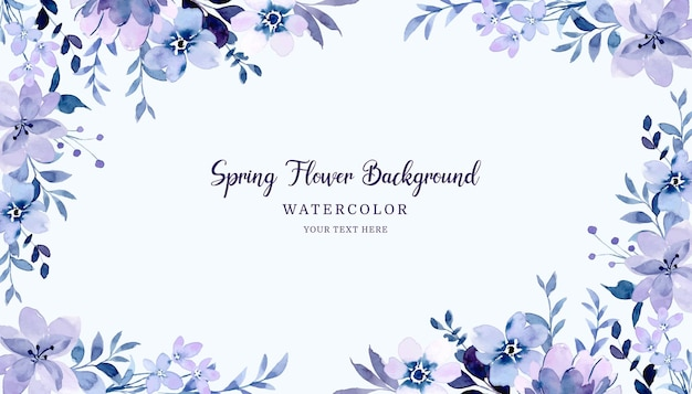 Fond floral violet printemps avec aquarelle
