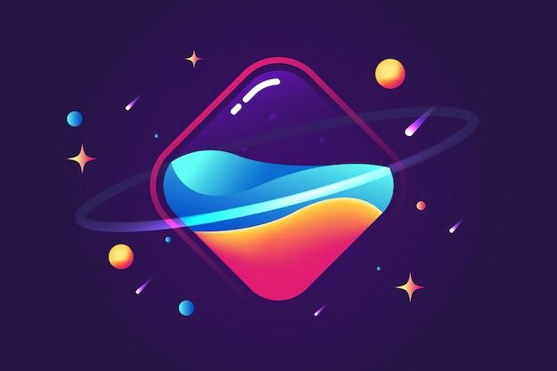 Fond fluide fantastique planète carrée