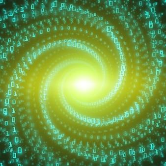Fond de flux de données. flux de données volumineux vert sous forme de chaînes de nombres binaires tordues dans un tunnel à l'infini