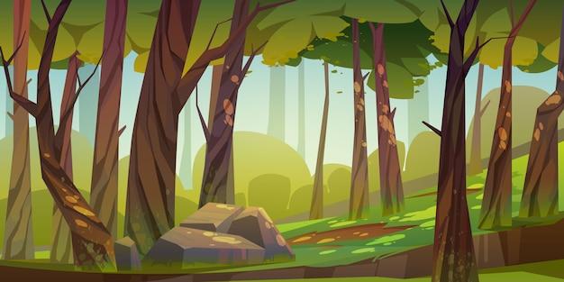 Fond de forêt de dessin animé, paysage de parc naturel