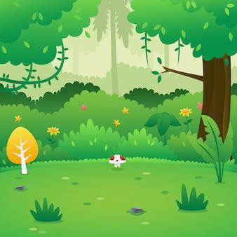 Fond de forêt de dessin animé