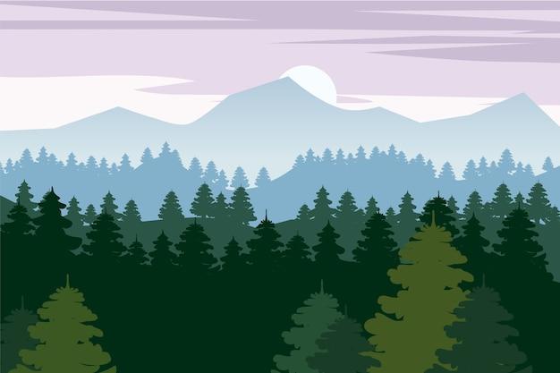 Fond de forêt de pins et de montagnes. silhouette d'épinette paysage panorama