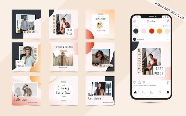 Fond de forme abstraite organique pour l'ensemble de publication sur les médias sociaux de la bannière de promotion de vente de mode instagram