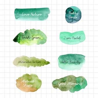 Fond de forme verte aquarelle