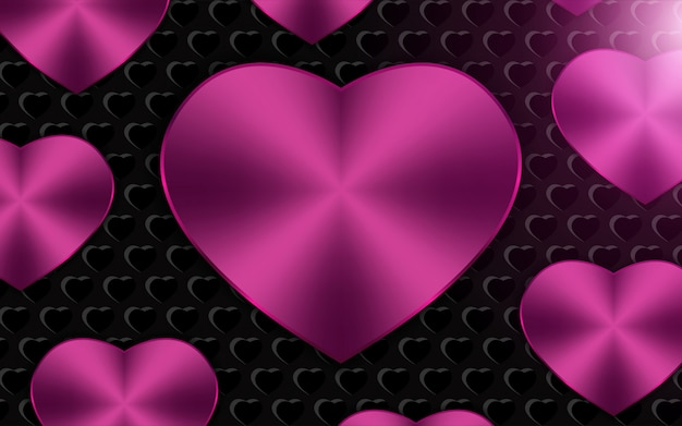 Fond de formes de coeur métallique rose