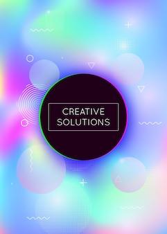 Fond de formes fluides avec des éléments dynamiques liquides. gradient bauhaus holographique avec memphis. modèle graphique pour brochure, bannière, papier peint, écran mobile. fond de formes fluides à la mode.