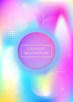 Fond de formes fluides avec des éléments dynamiques liquides. gradient bauhaus holographique avec memphis. modèle graphique pour pancarte, présentation, bannière, brochure. fond de formes fluides arc-en-ciel.