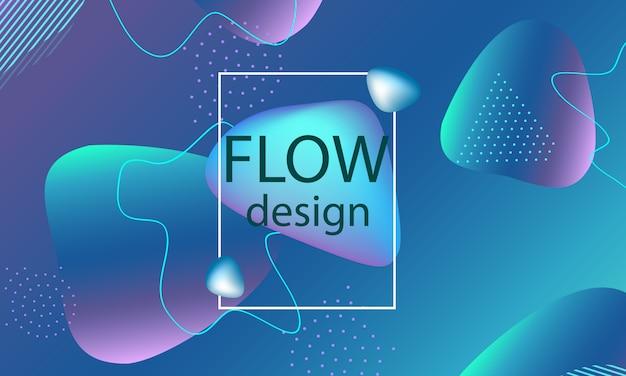 Fond de formes de flux. couverture abstraite ondulée. fond d'écran coloré liquide créatif. affiche dégradée à la mode. illustration.