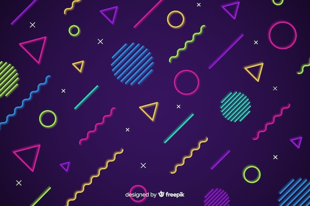 Fond de formes géométriques au néon