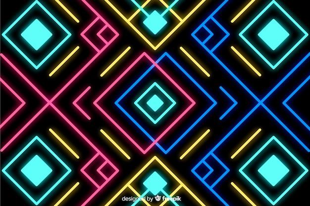 Fond avec des formes géométriques et style néon