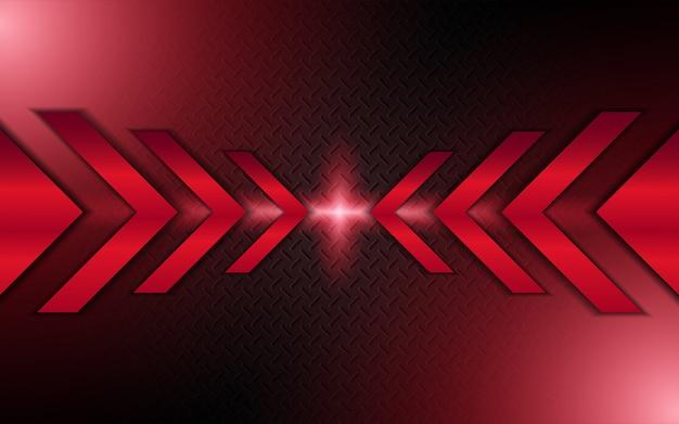 Fond de formes métalliques abstrait flèche rouge