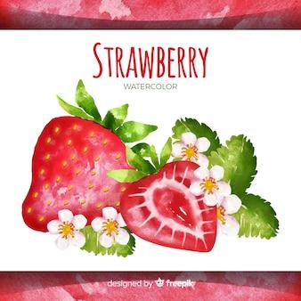 Fond de fraise dessiné main aquarelle