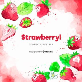 Fond de fraises aquarelle