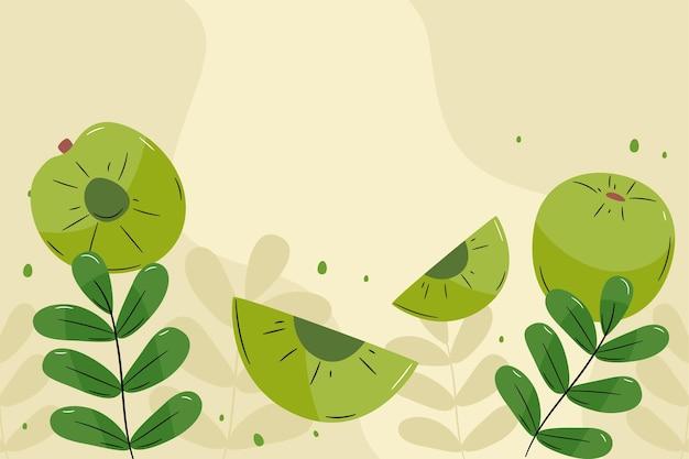 Fond de fruits amla dessiné à la main illustré