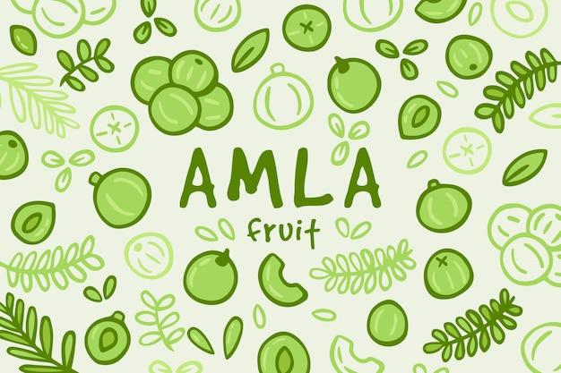 Fond de fruits amla dessinés à la main