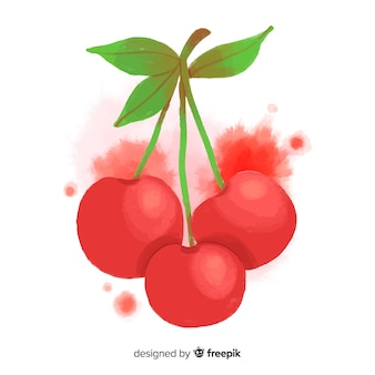 Fond de fruits aquarelle aux cerises