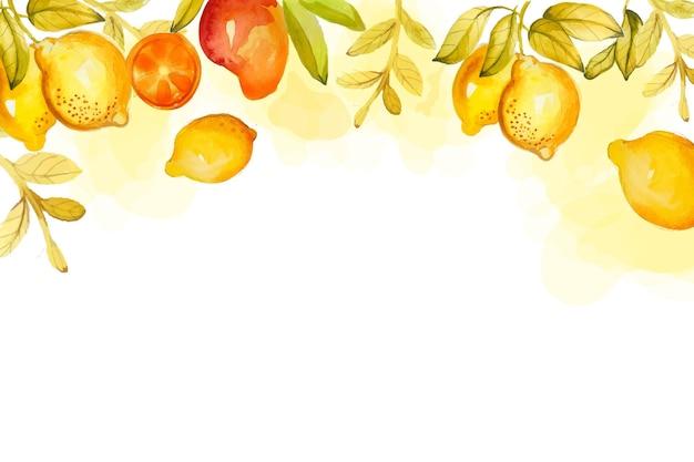 Fond de fruits aquarelle peint à la main