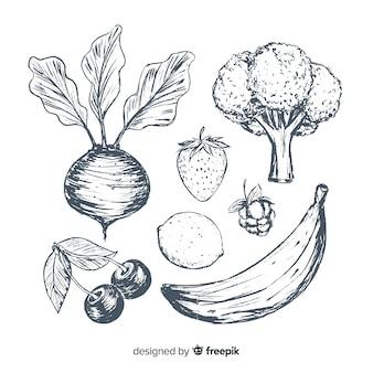 Fond de fruits et légumes dessinés à la main