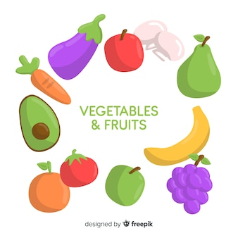 Fond de fruits et légumes dessinés à la main