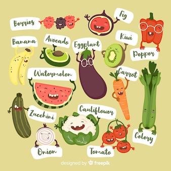 Fond de fruits et légumes drôles dessinés à la main