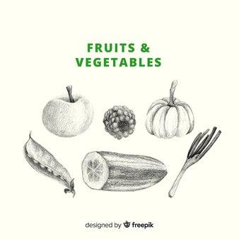 Fond de fruits et légumes incolores dessinés à la main