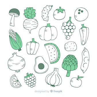 Fond de fruits et légumes incolores dessinés à la main