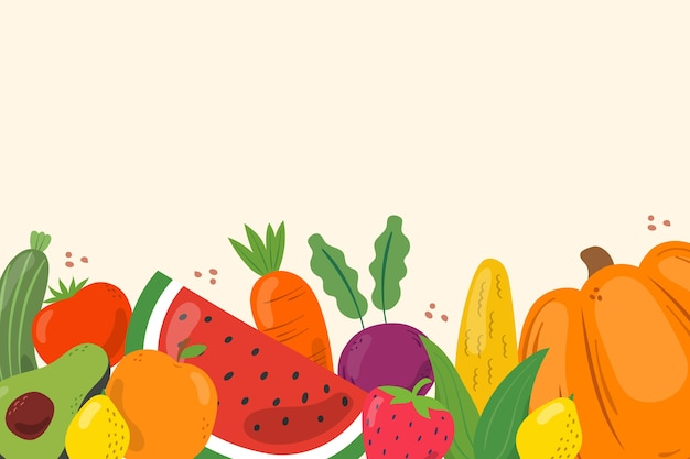 Fond avec des fruits et légumes