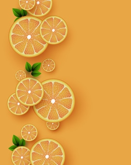 Fond de fruits orange. morceaux d'orange en tranches avec des feuilles. illustration vectorielle.