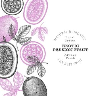 Fond de fruits de la passion de style croquis dessinés à la main. fruits frais bio. fruits exotiques rétro