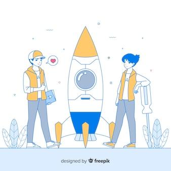 Fond de fusée de construction d'équipe