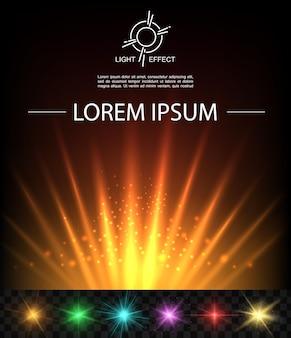 Fond de fusée lumineuse réaliste avec des faisceaux et des taches scintillantes de lumière orange et des étoiles brillantes colorées