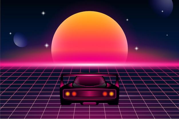 Fond de futurisme rétro avec voiture de sport et soleil