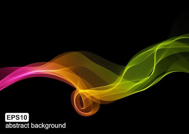 Fond futuriste de couleur abstraite onde lumineuse.