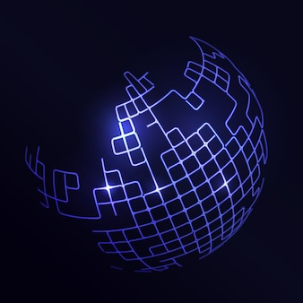 Fond futuriste avec un globe bleu abstrait