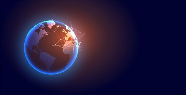 Fond futuriste de la terre numérique mondiale de la technologie