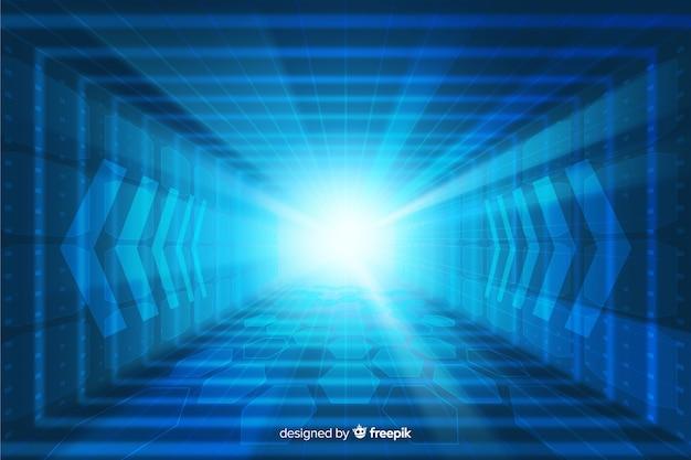 Fond futuriste de tunnel de lumière technologique