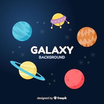 Fond de galaxie colorée avec un design plat