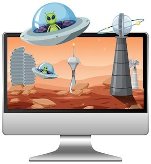 Fond de galaxie extraterrestre sur écran d'ordinateur
