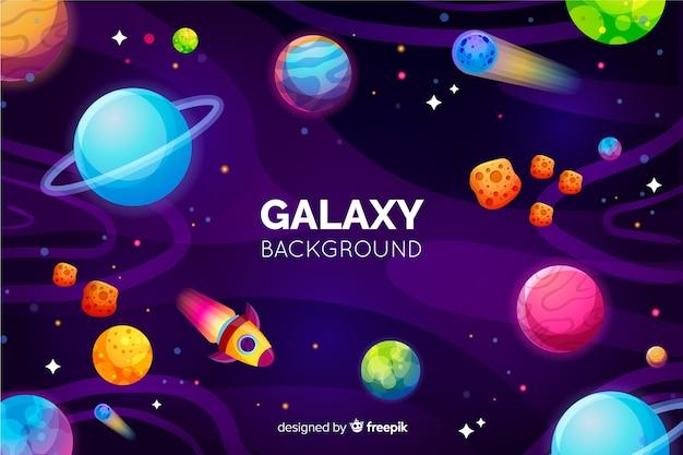 Fond de galaxie avec des planètes colorées