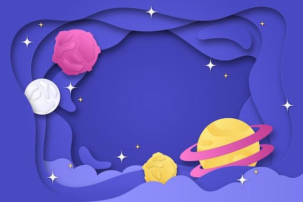 Fond de galaxie de style papier avec des étoiles